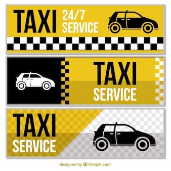 Set di tre astratte di taxi banner