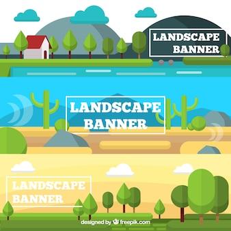 Set di tre bandiere di paesaggi naturali in design piatto