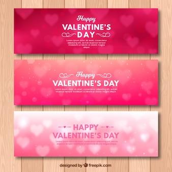 Set di tre bandiere di San Valentino bokeh
