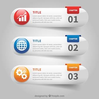 Set di tre bandiere infographic con dettagli di colore