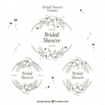 Set di tre cornici floreali d'epoca per addio al nubilato