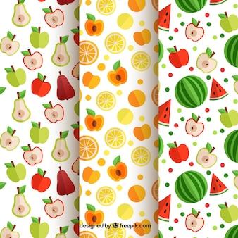 Set di tre modelli di frutta piatte