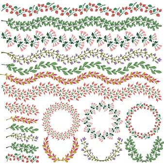 Set di vettore colorate decorazioni floreali Tutti i pennelli inclusi