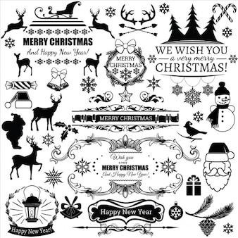 Set di vettore decorazioni natalizie ed etichette