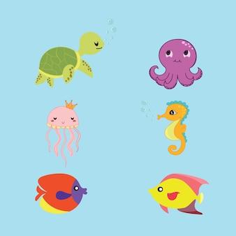 Set di vettore vita marina