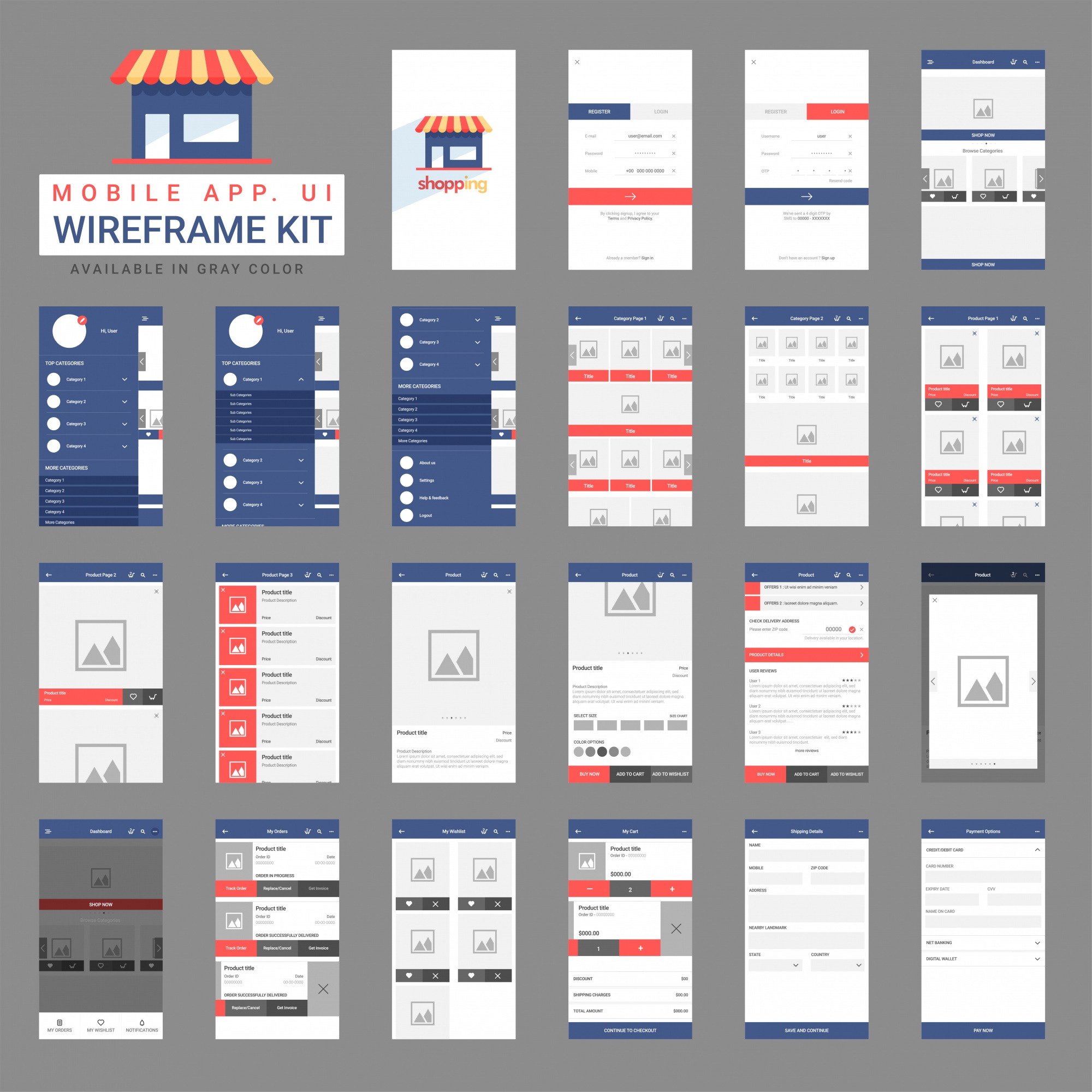 Set di wireframe per mobile app