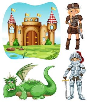 Set medievale con cavaliere e illustrazione di drago