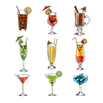 Set vettore di bicchieri da cocktail
