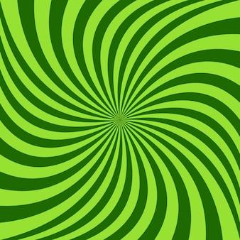 Sfondo a raggi spirali - disegno vettoriale dai raggi ruotati di verde