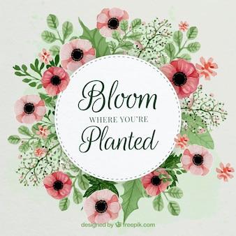 Sfondo acquerello con i fiori nei toni rossi