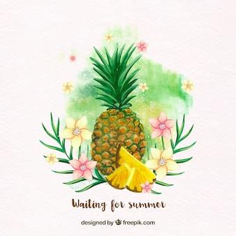 Sfondo Ananas con i fiori ad acquerello