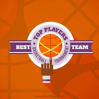 Sfondo arancione basket con dettagli viola