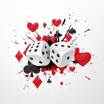 Sfondo astratto con dadi splatter e giocare simboli delle carte