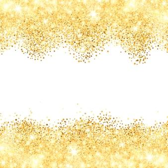 Sfondo bianco con frontiere dorate della polvere