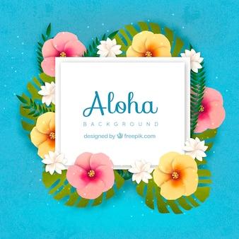 Sfondo blu aloha con decorazioni floreali