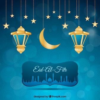 Sfondo blu bokeh di eid al fitr con lanterne e stelle