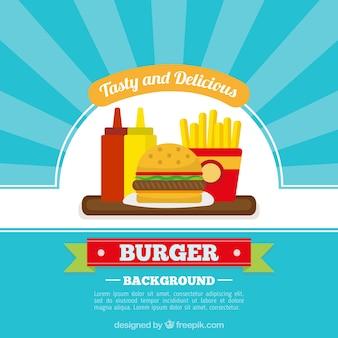 Sfondo blu con menu fast food in design piatto