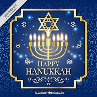 Sfondo blu e oro per Hanukkah