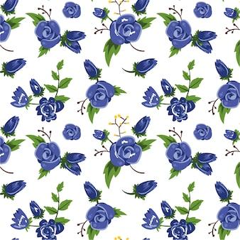 Sfondo blu pattern di fiori