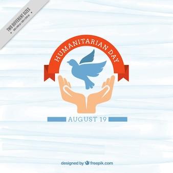 Sfondo carino giorno umanitario con le mani e la colomba