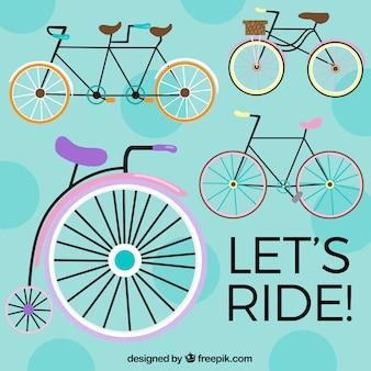 Sfondo colorato con varietà di biciclette