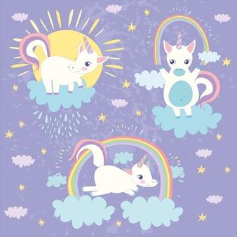 Sfondo colorato unicorni