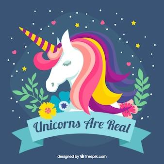 Sfondo colorato unicorno e elementi floreali