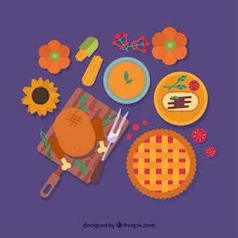 Sfondo con delizioso cibo per la cena di ringraziamento