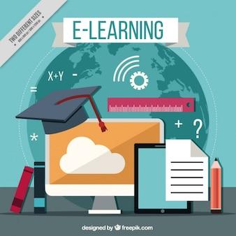 Sfondo con elementi di apprendimento online e design piatto