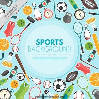 Sfondo con elementi sportivi in design piatto
