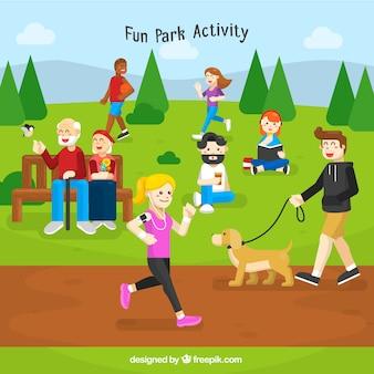 Sfondo con le persone nel parco