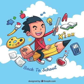 Sfondo creativo del ragazzo con gli elementi della scuola