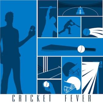 Sfondo cricket con i giocatori e gli accessori