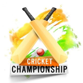Sfondo cricket con wickets e palla