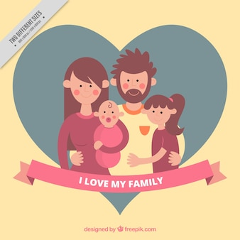 Sfondo Cuore con gentile famiglia unita