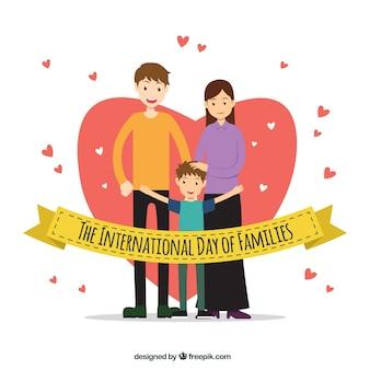Sfondo Cuore con sorridente famiglia