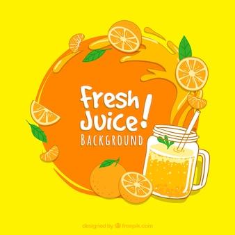 Sfondo decorativo con succo d'arancia e spruzzi