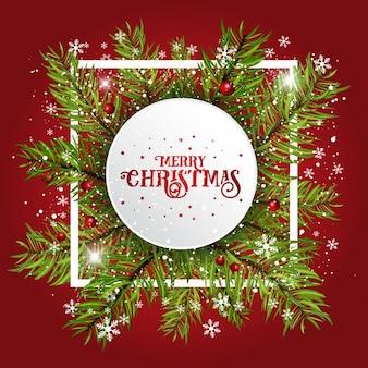 Sfondo decorativo di Natale con rami di abete e bacche