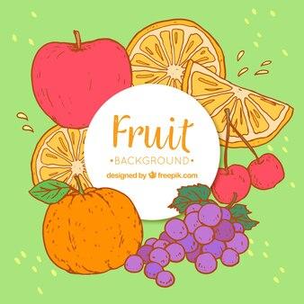 Sfondo decorativo di pezzi disegnati a mano di frutta