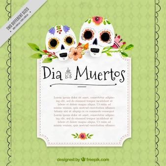 Sfondo decorativo di teschi messicani disegnati a mano
