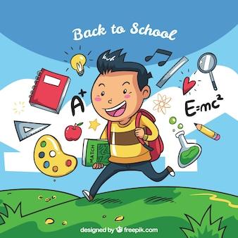 Sfondo del bambino con gli accessori scolastici disegnati a mano