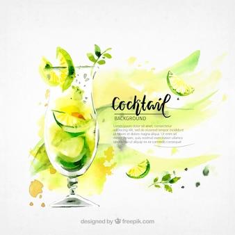 Sfondo del rinfrescante cocktail di acquerello