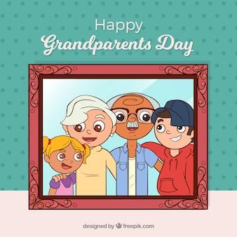 Sfondo del telaio con la foto della famiglia con i nonni