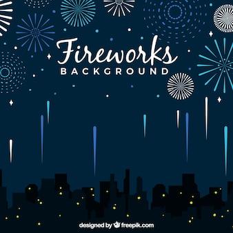 Sfondo della città con fuochi d'artificio