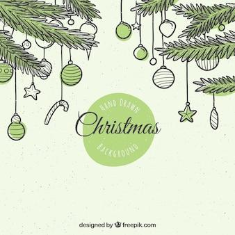 Sfondo di abete con baubles di Natale disegnato a mano