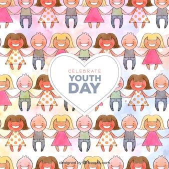Sfondo di acquerello unita persone che festeggiano la giornata della gioventù