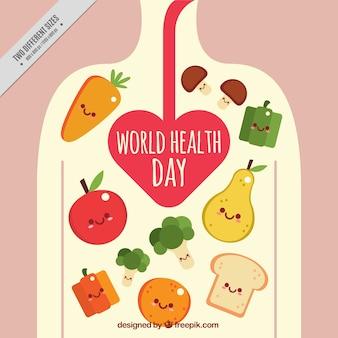 Sfondo di alimenti belle nel corpo umano