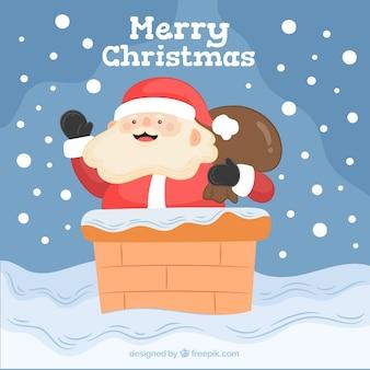 Sfondo di Babbo Natale che esce dal camino