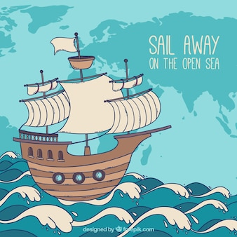 Sfondo di barche disegnate a mano con onde