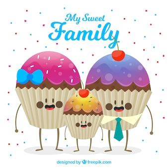 Sfondo di bella famiglia di muffin